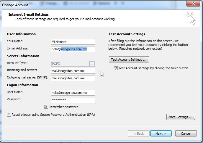 Configura tu cuenta con estos datos. Remplaza la información marcada en azul con tu dominio.