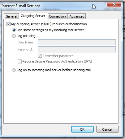 Al terminar, haz click en More Settings y configura la pestaña de Outgoing Server como se muestra.